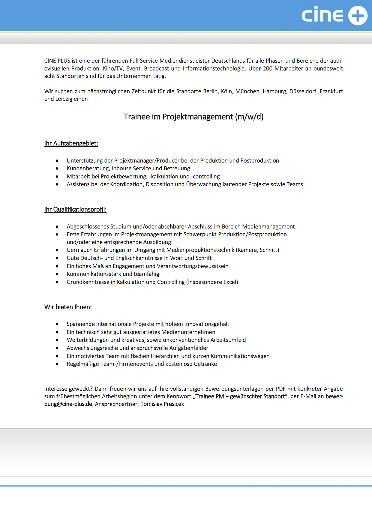 Trainee im Projektmanagement (m/w/d)