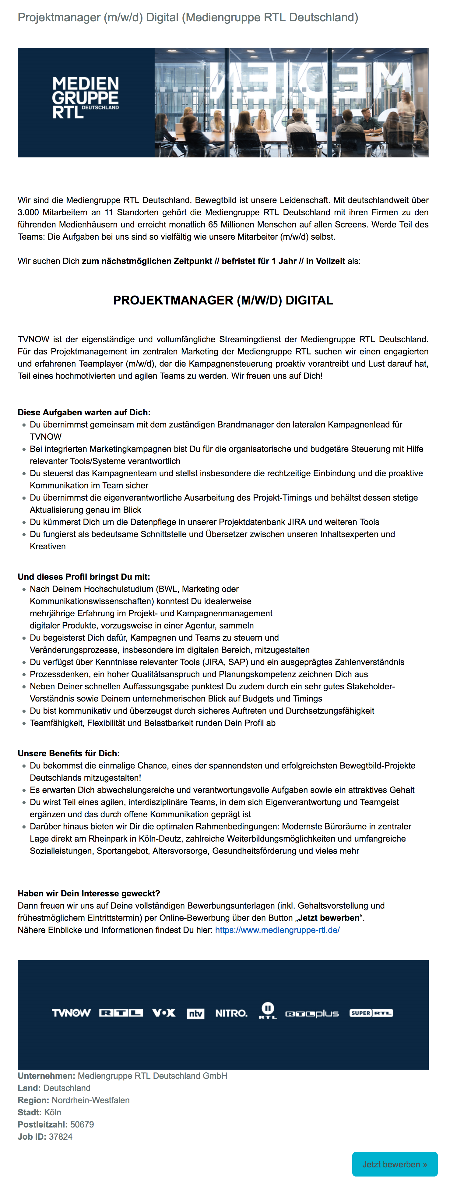 Projektmanager (m/w/d) Digital