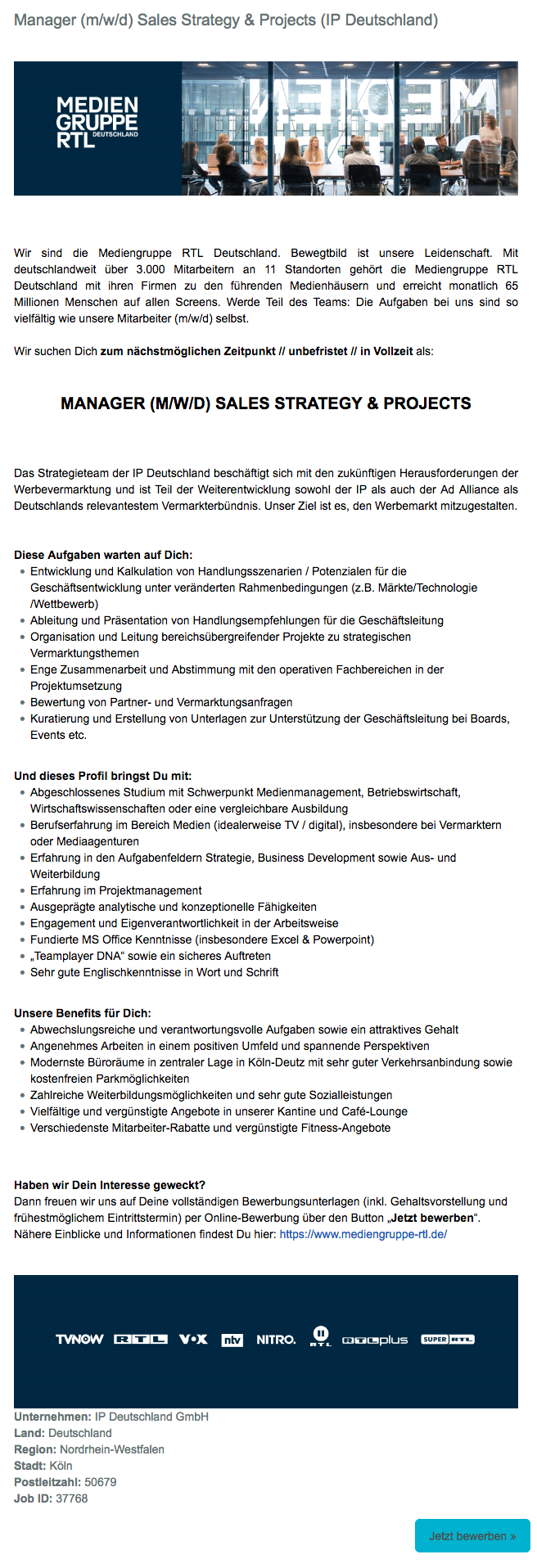 Manager (m/w/d) Sales Strategy & Projects (IP Deutschland)