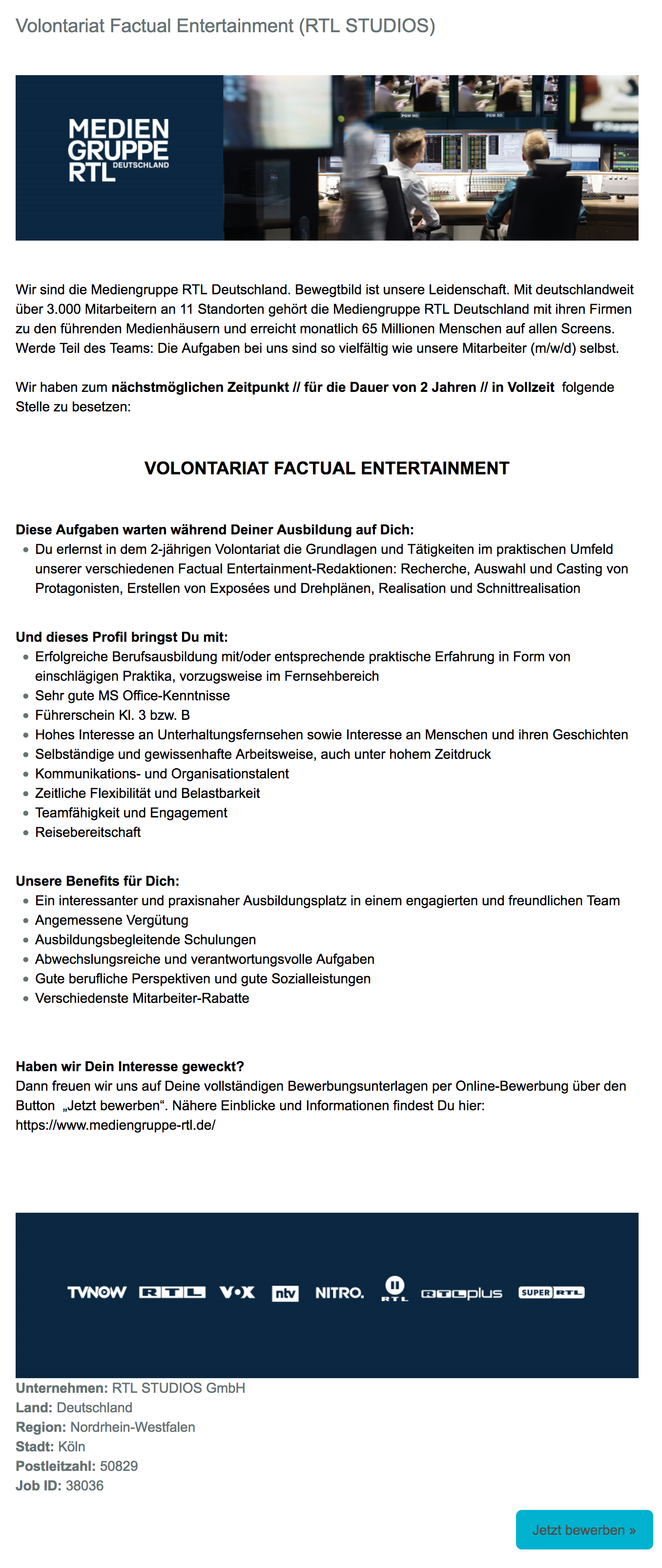 Volontariat Factual Entertainment (RTL STUDIOS)