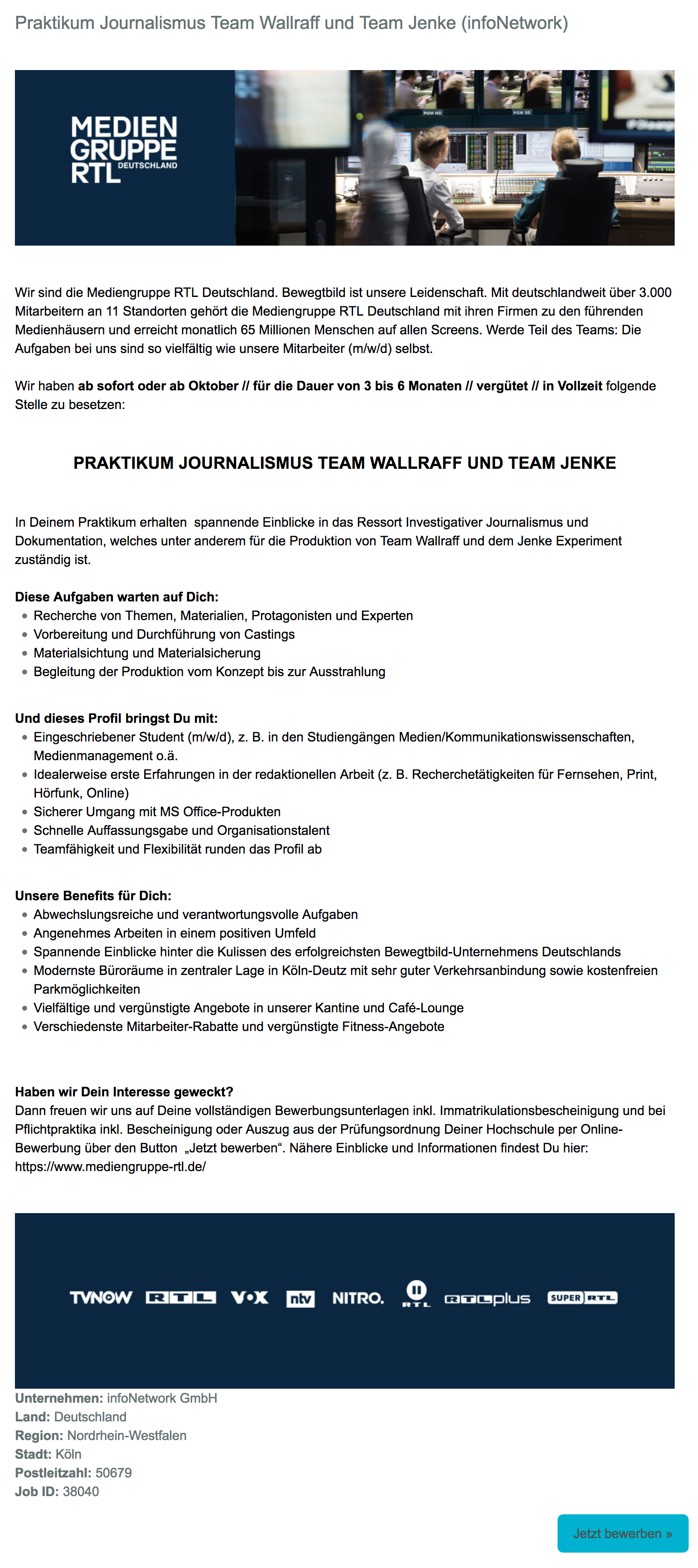 Praktikum Journalismus Team Wallraff und Team Jenke (infoNetwork)