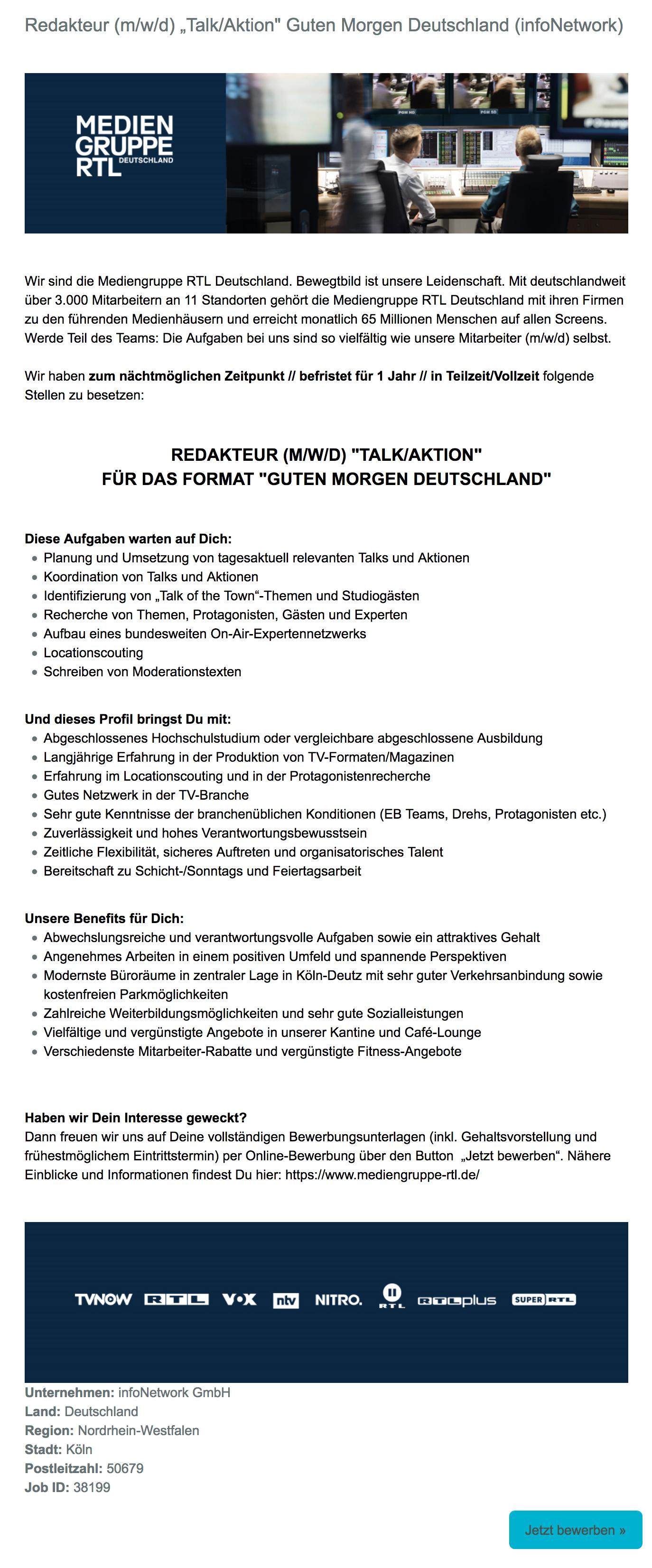 Mediengruppe Rtl Deutschland Köln Sucht Redakteur Mwd
