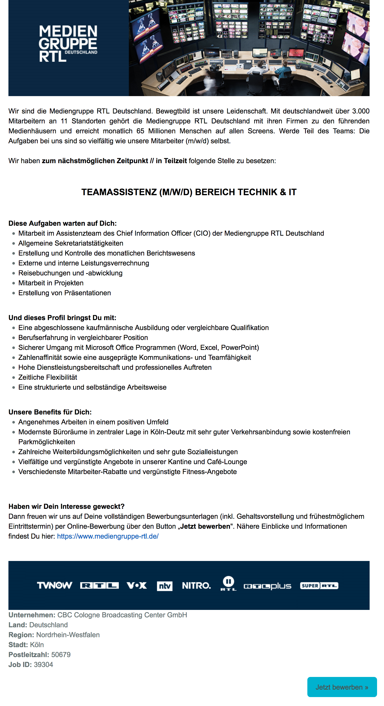 Teamassistenz (m/w/d) Bereich Technik & IT (CBC)