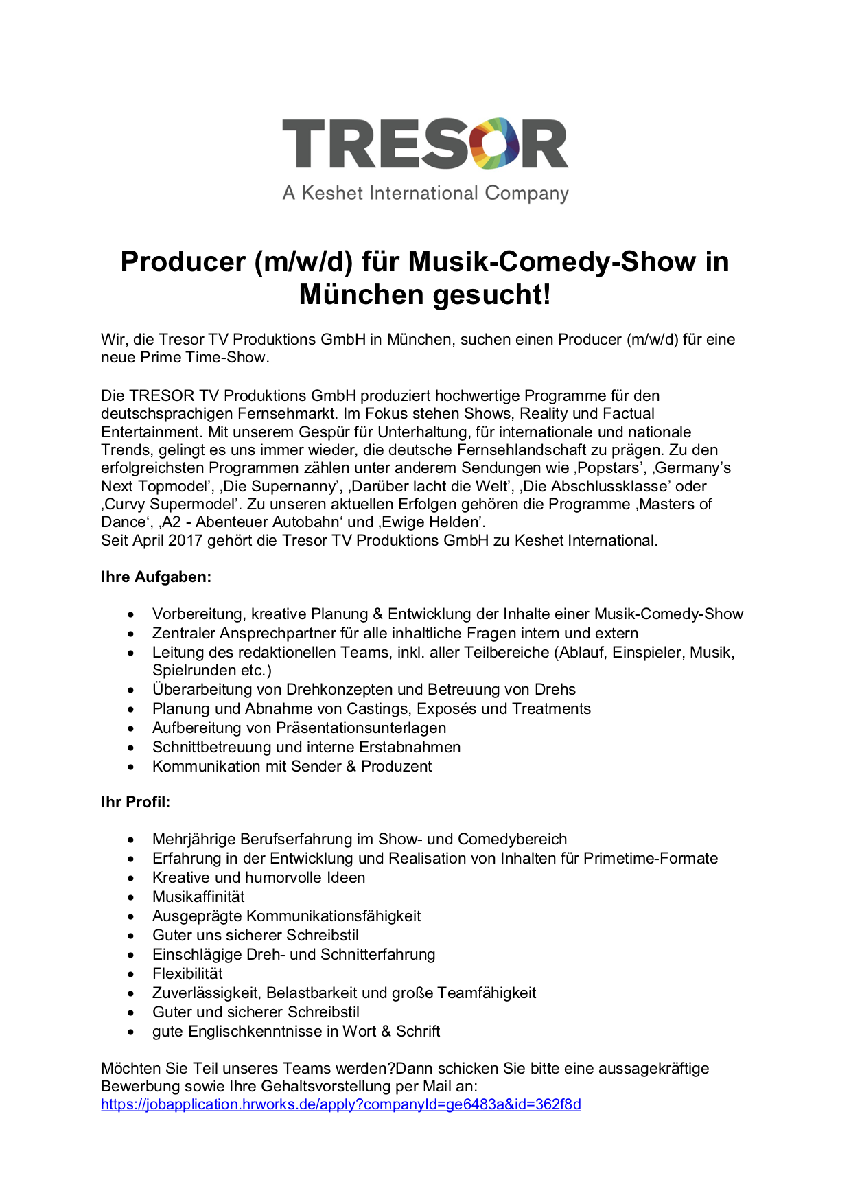 Producer (m/w/d) Musik-Comedy-Show