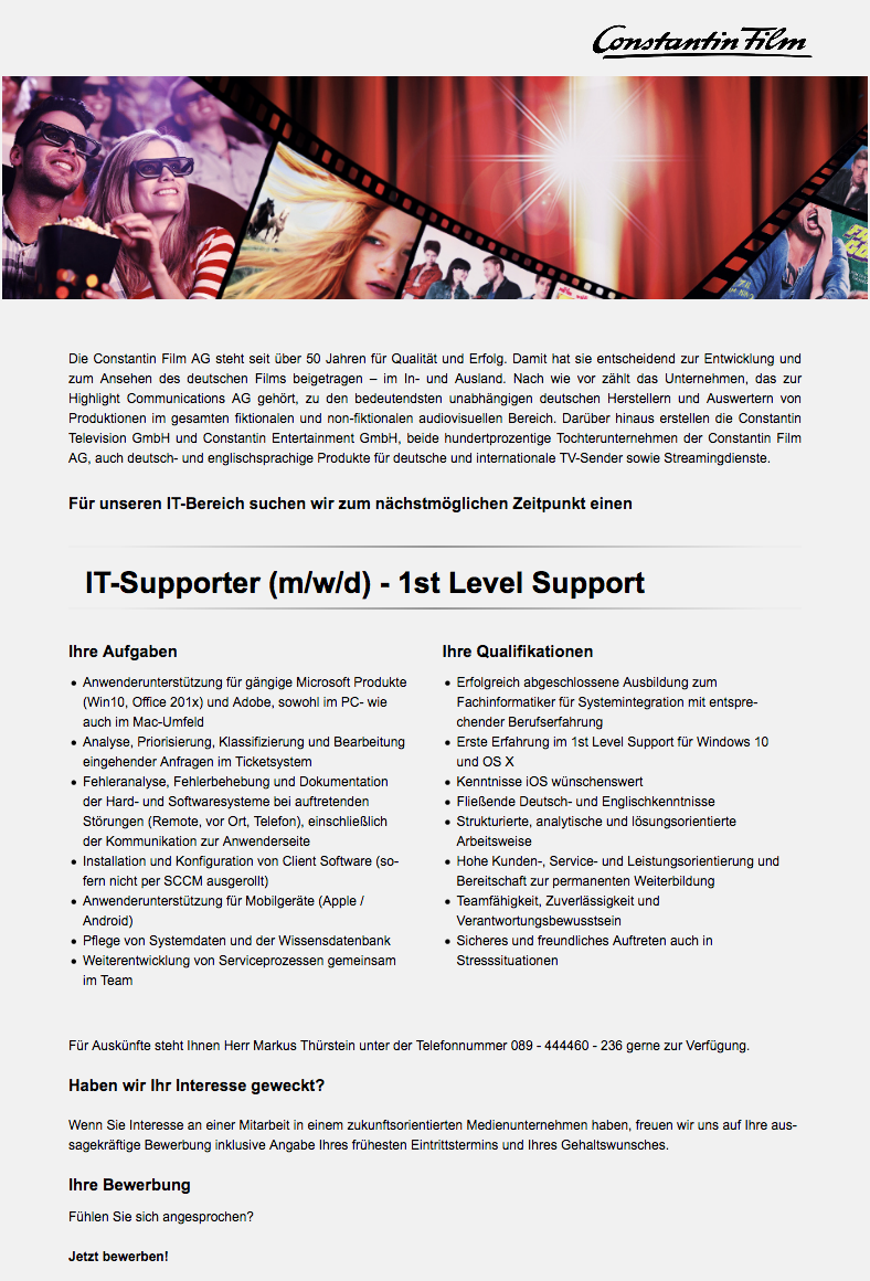 IT-Supporter (m/w/d) - 1st Level Support