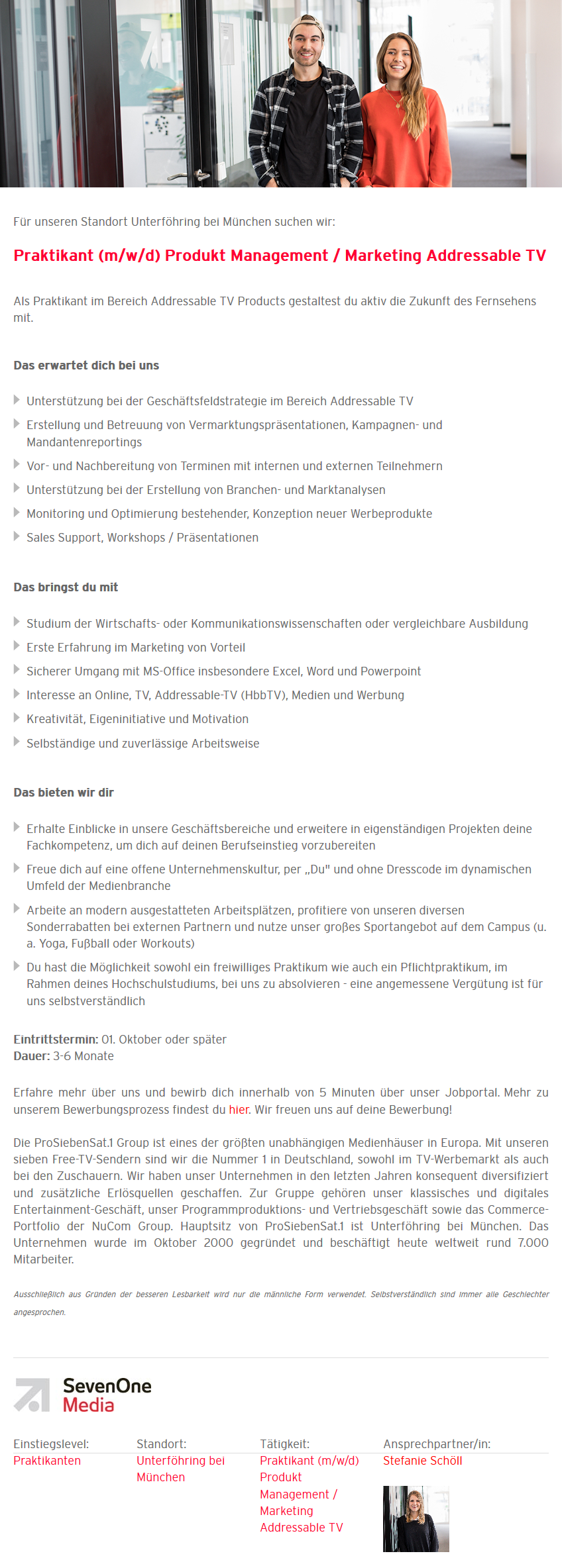 Praktikant (m/w/d) Produkt Management / Marketing Addressable TV