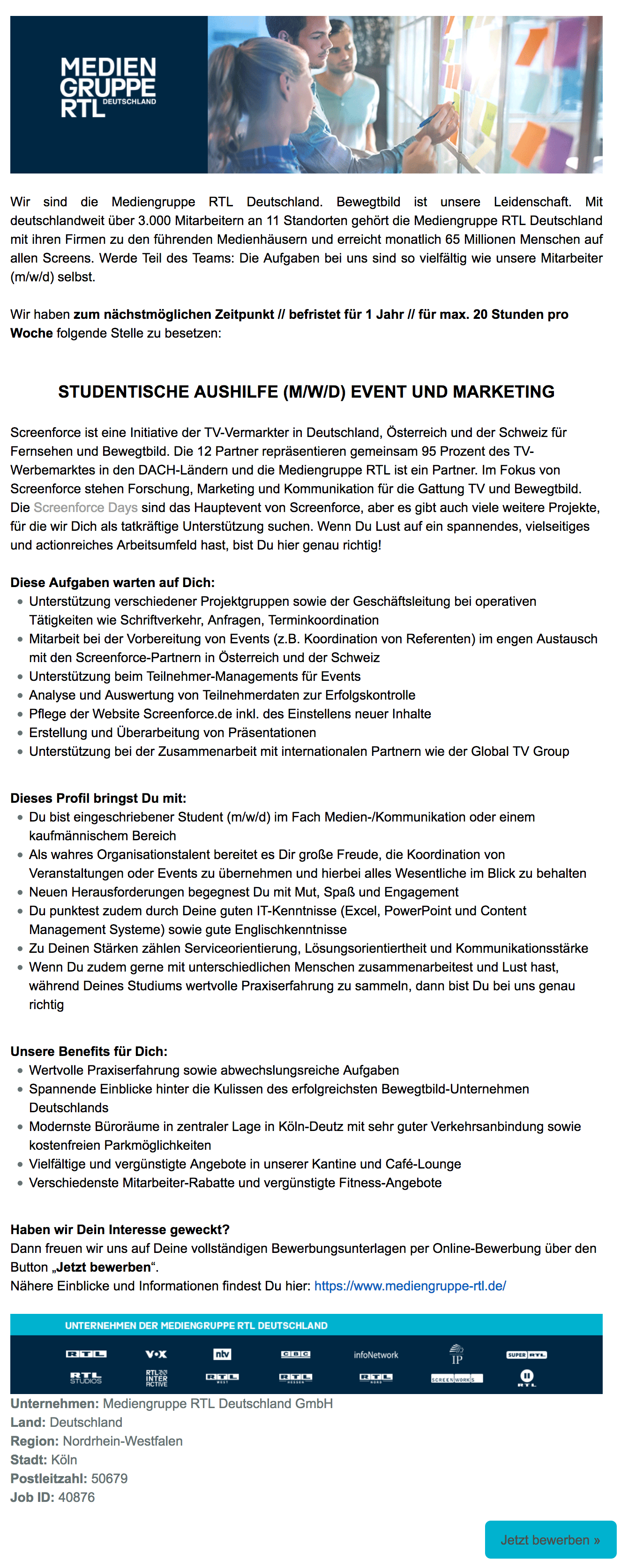 Studentische Aushilfe (m/w/d) Event und Marketing