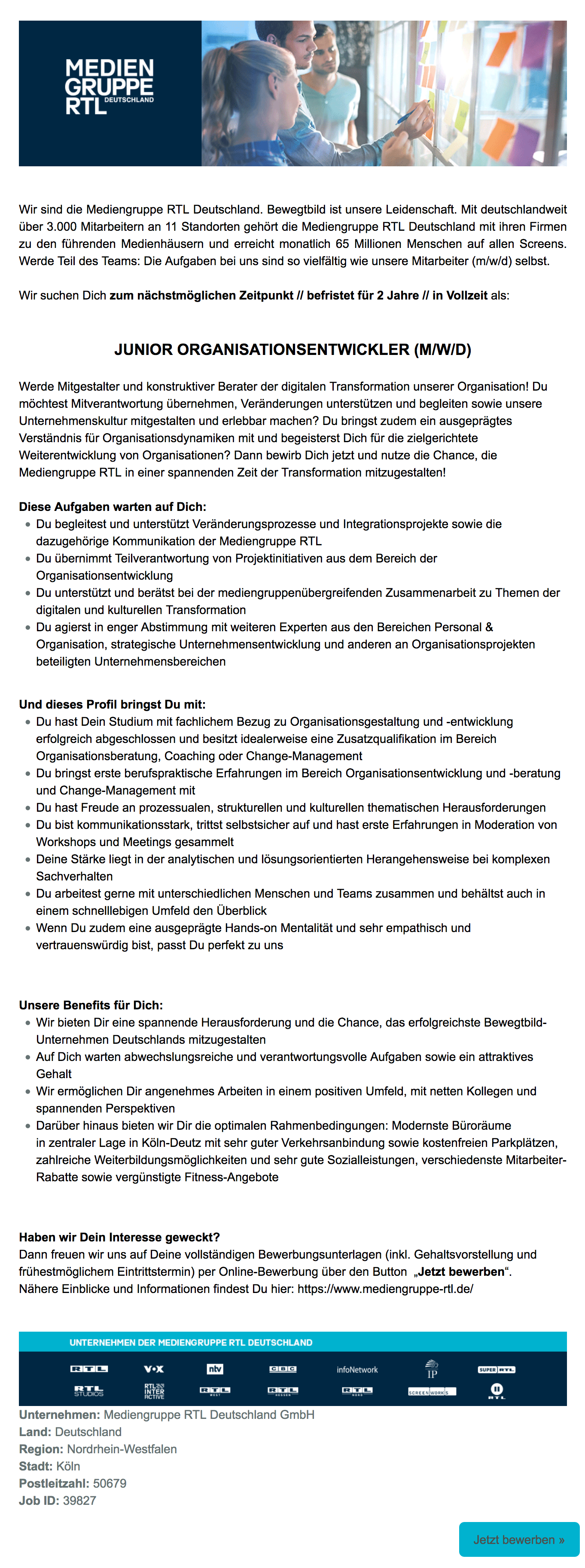 Junior Organisationsentwickler (m/w/d)