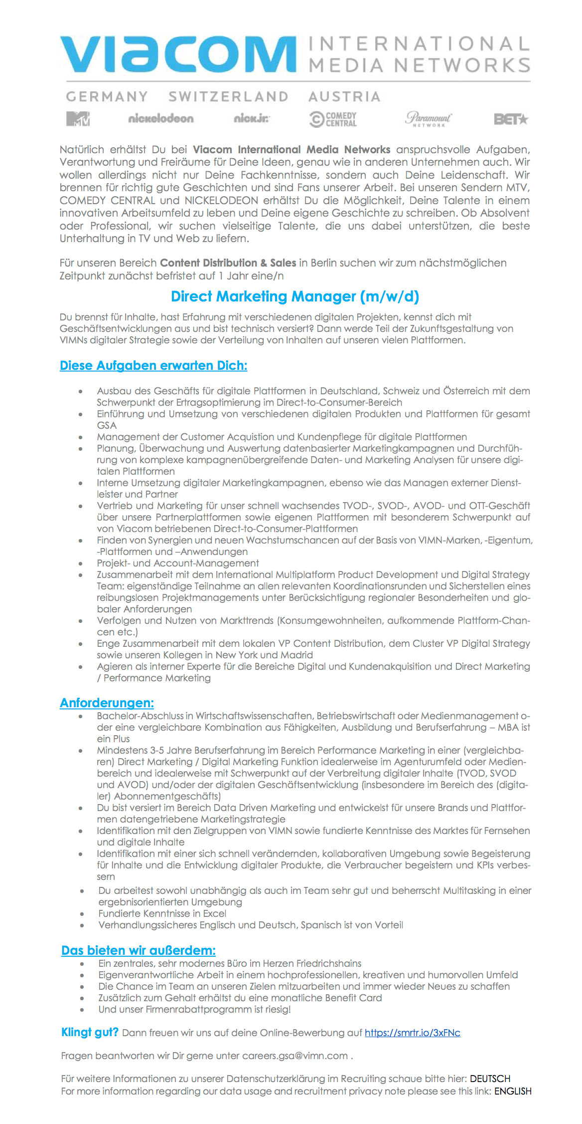 Direct Marketing Manager (m/w/d)
