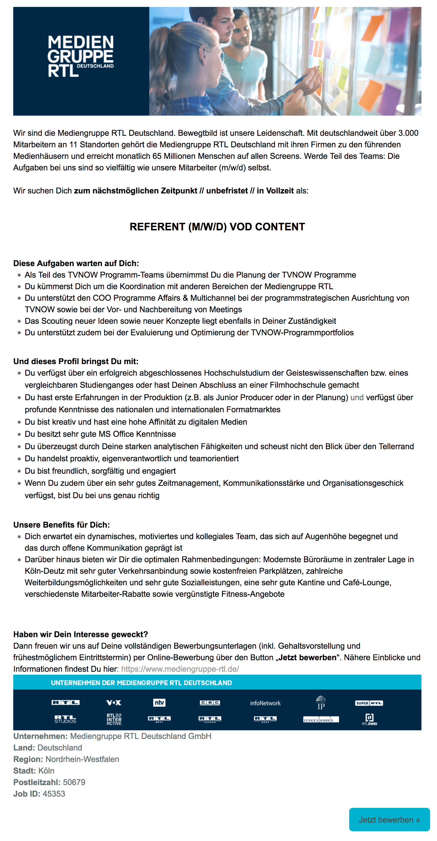 Referent (m/w/d) VoD Content