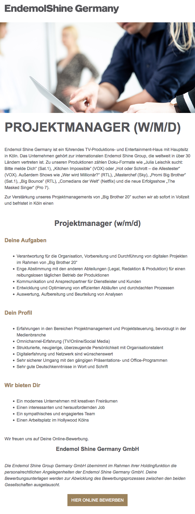 "Projektmanager (w/m/d) ""Big Brother 20"""
