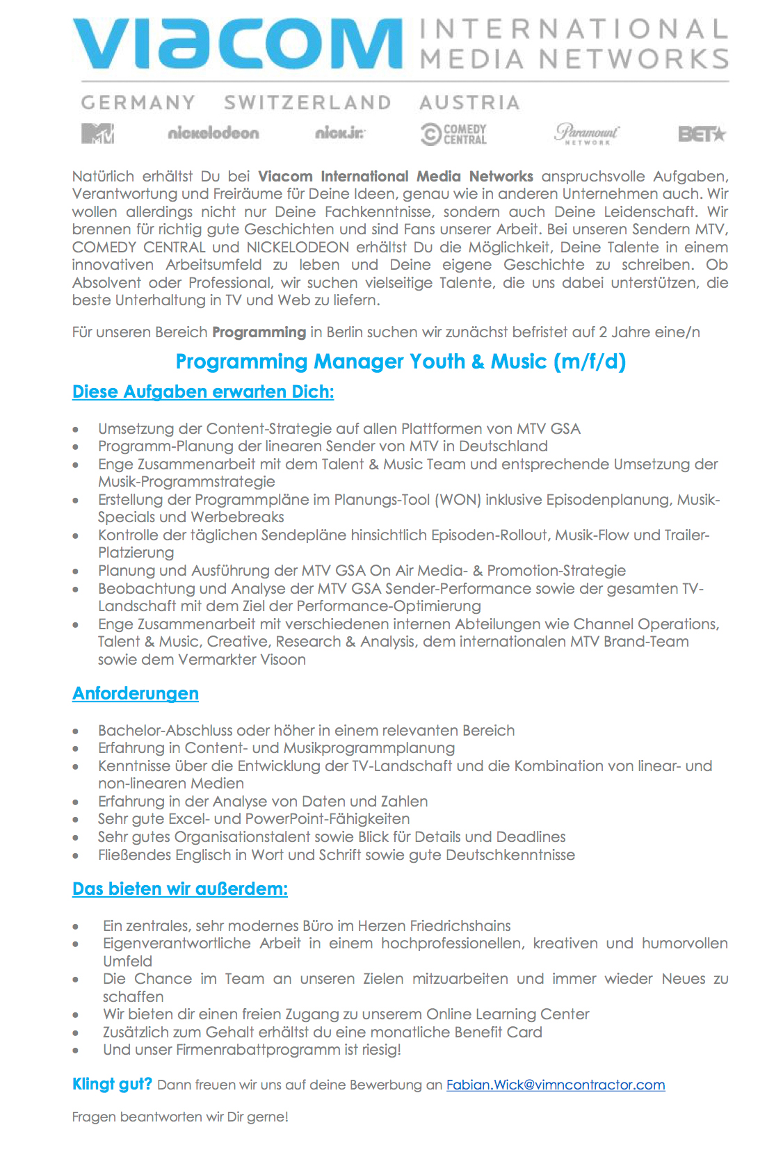 Programming Manager Youth & Music (m/f/d)