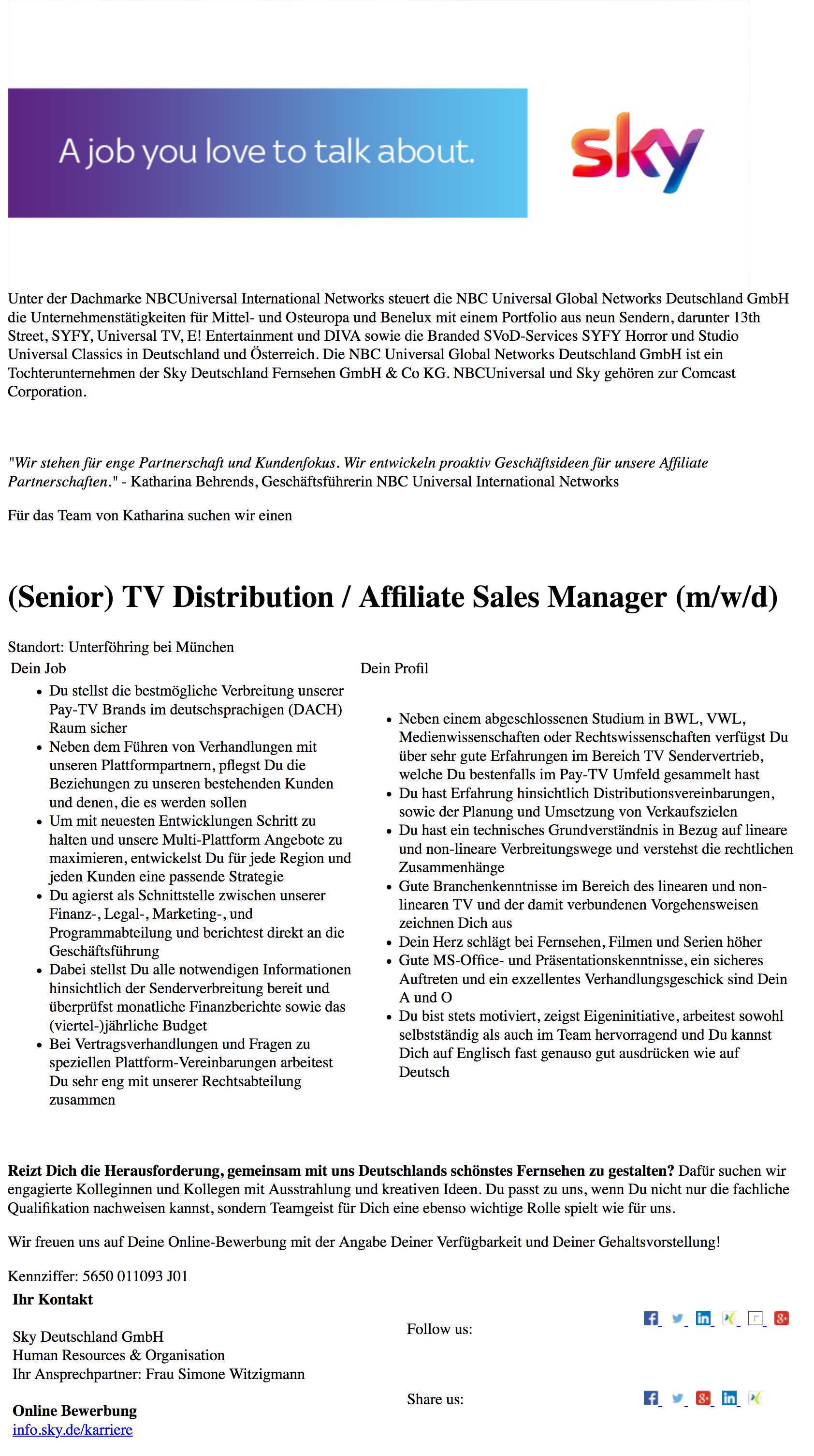 (Senior) TV Distribution / Affiliate Sales Manager (m/w/d)