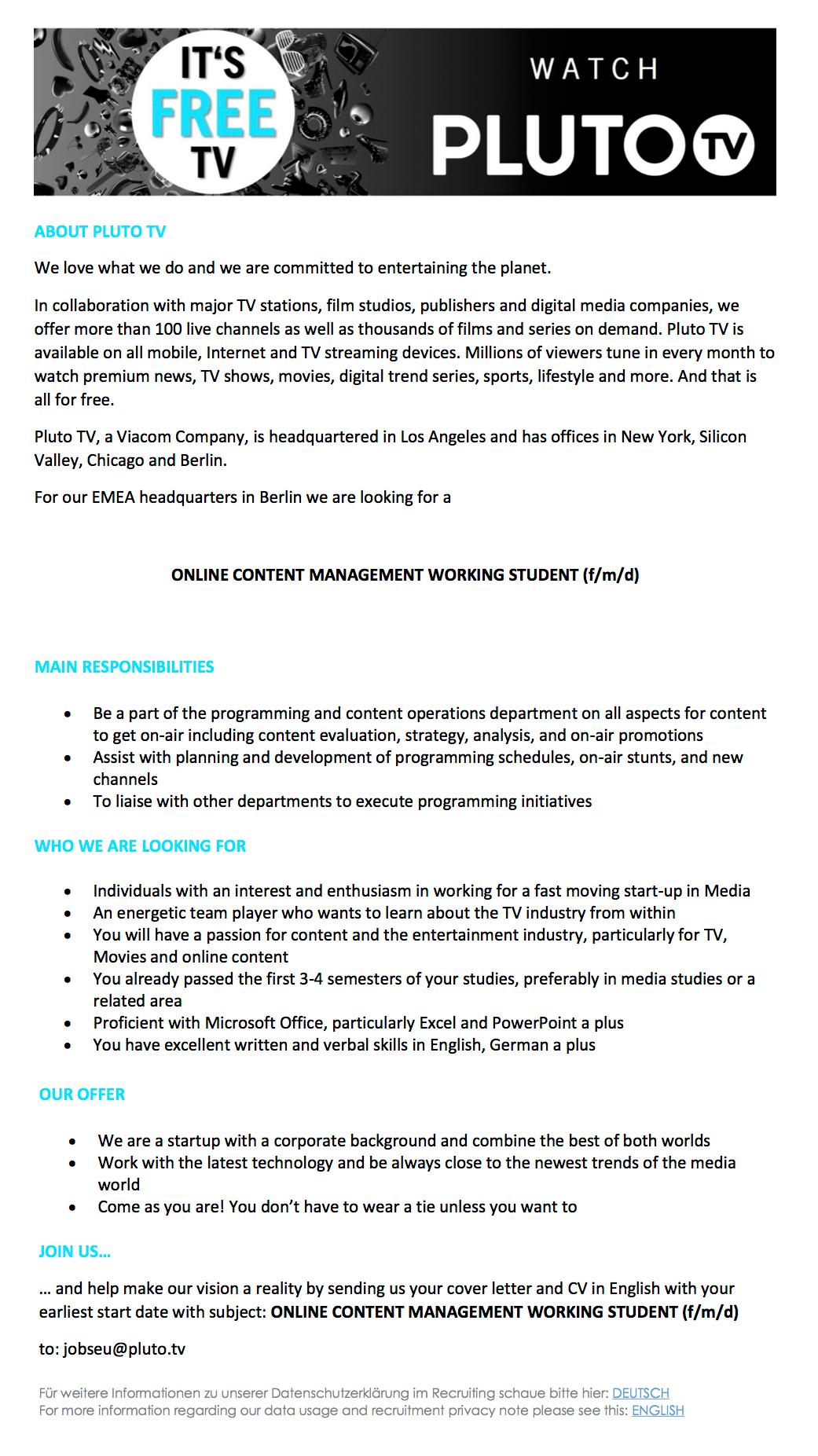 Pluto TV (Berlin) sucht Online Content Management Working ...