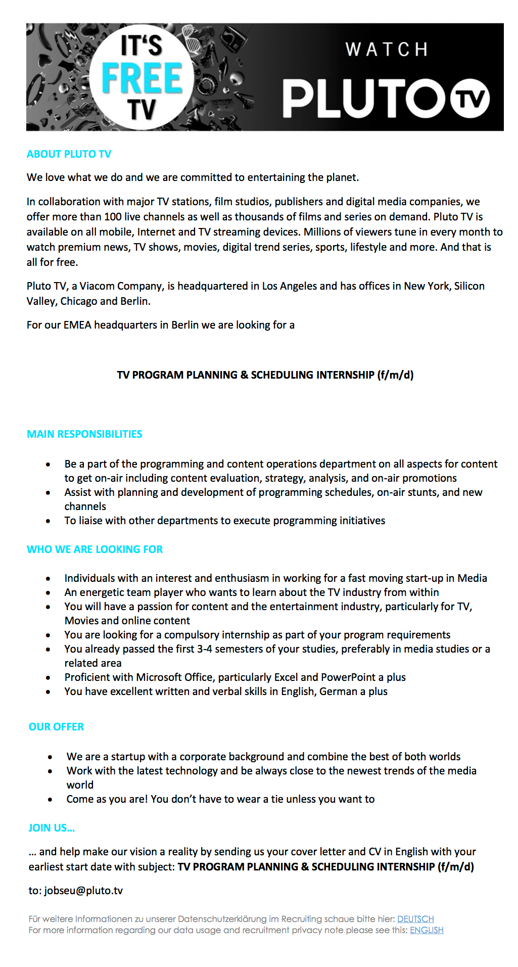 TV Program Planning & Scheduling Internship (f/m/d)