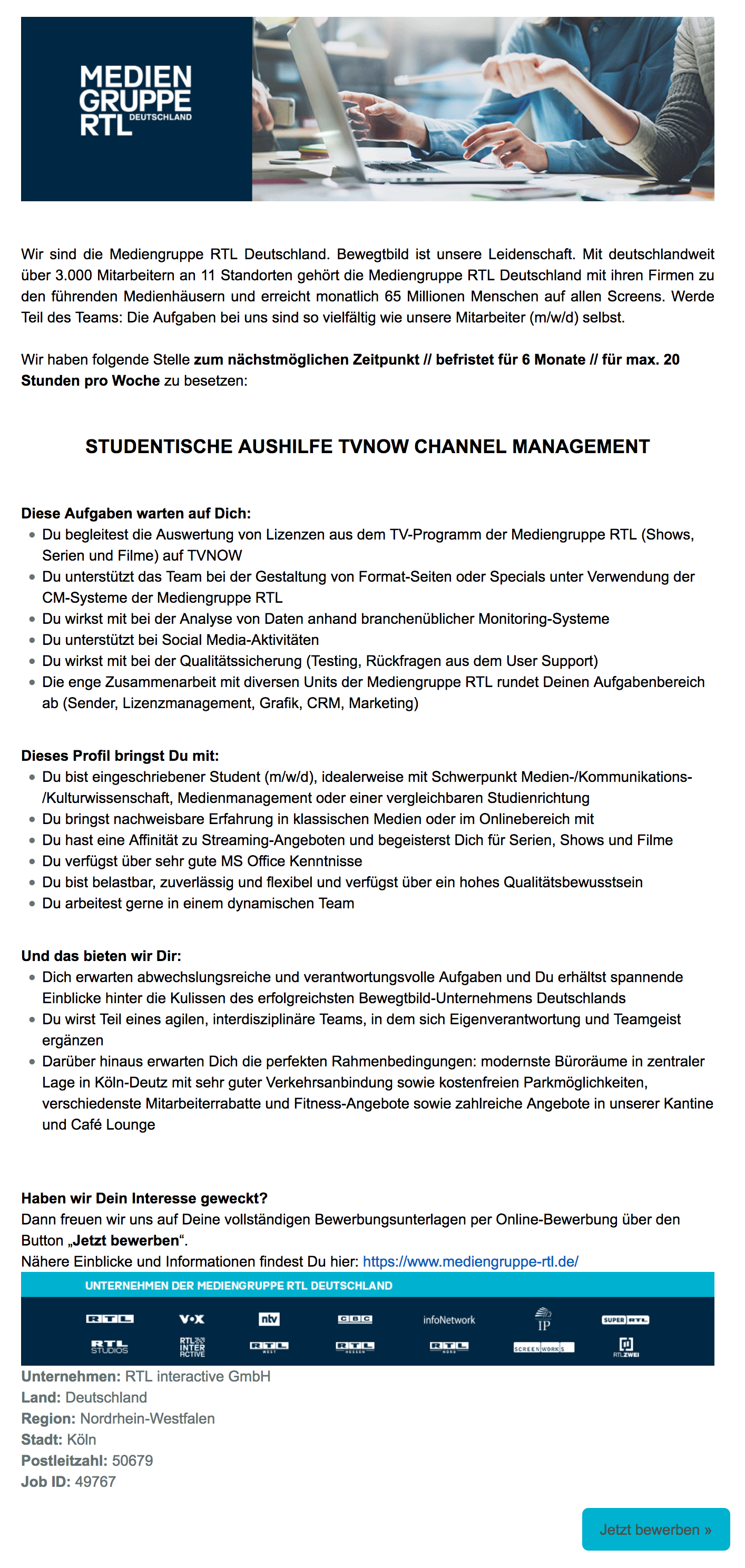 Studentische Aushilfe (m/w/d) TVNOW Channel Management (RTL interactive)