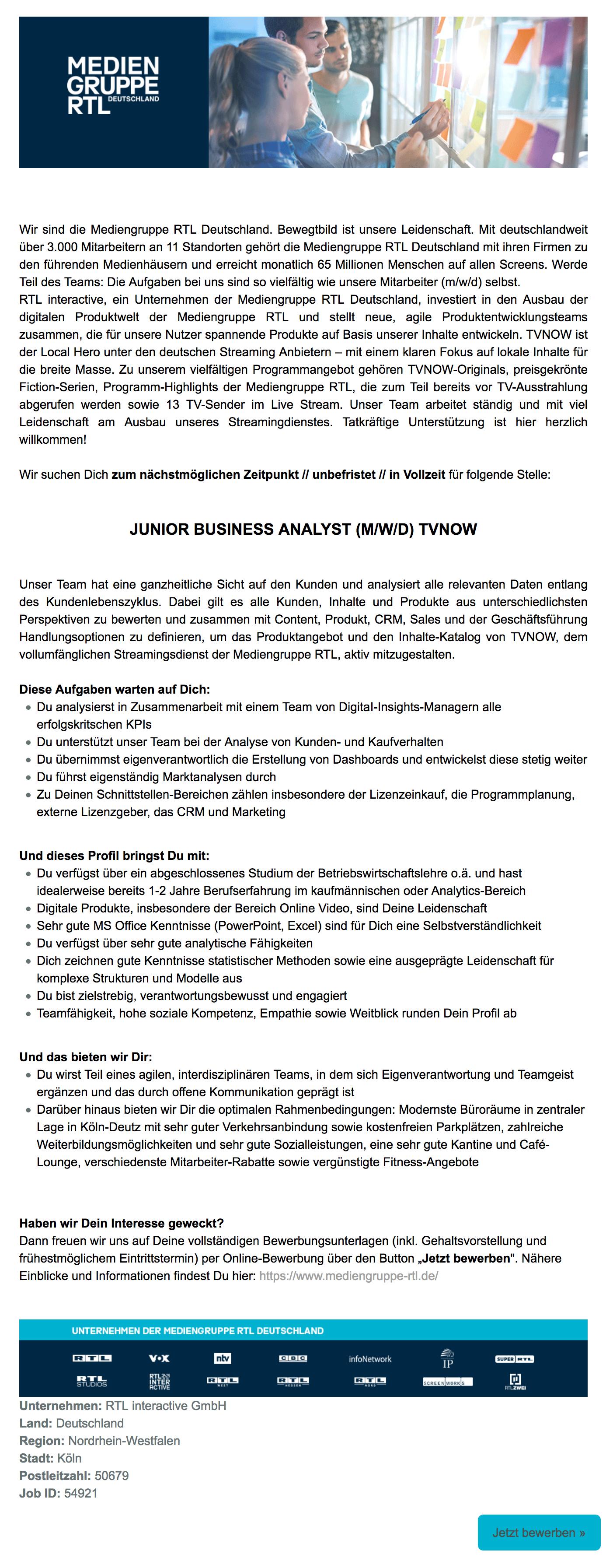 Mediengruppe Rtl Deutschland Köln Sucht Junior Business