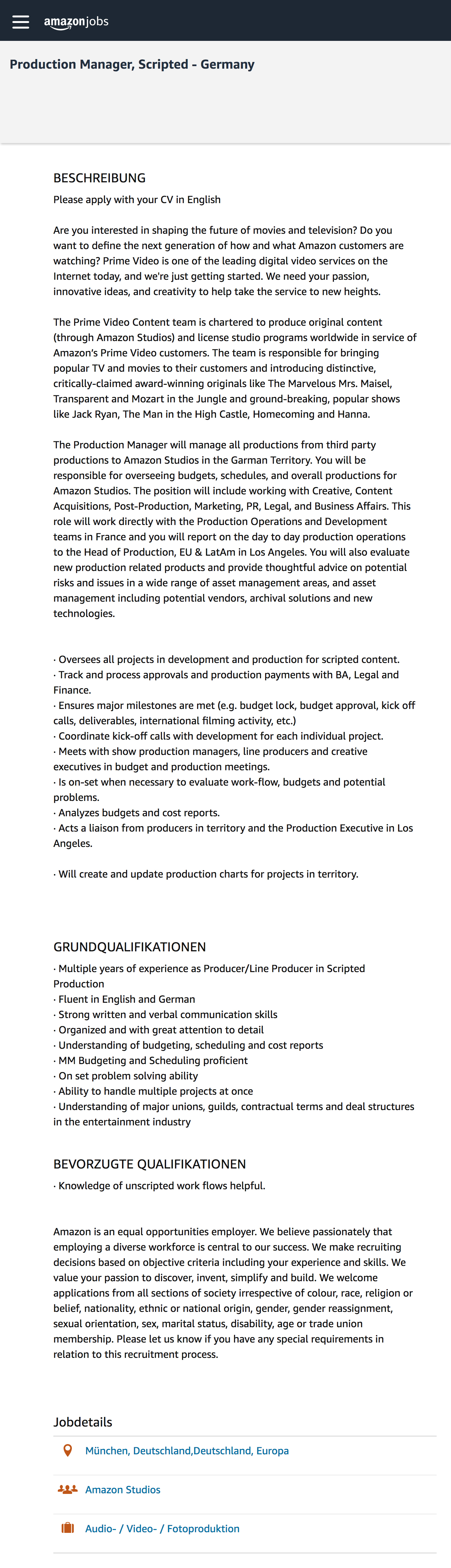 Production Manager, Scripted - Germany (mf/d)