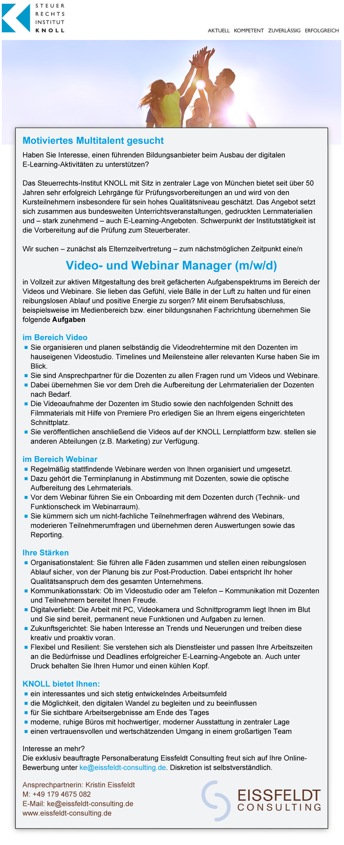 Video- und Webinar Manager (m/w/d)
