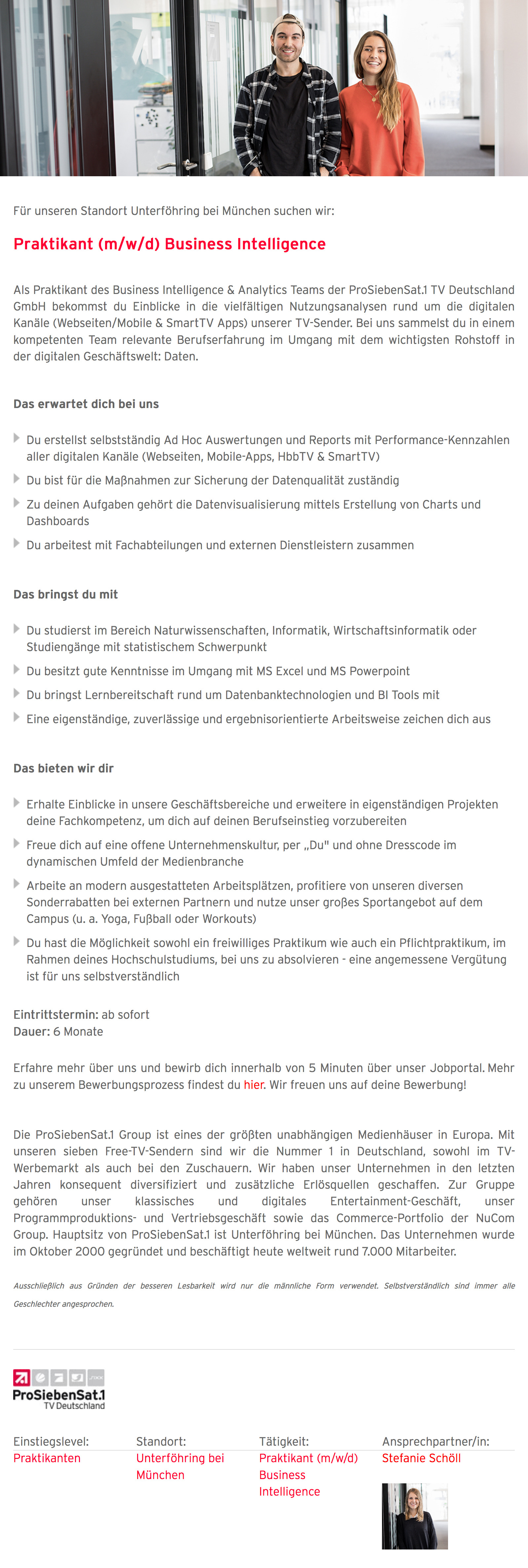 Praktikant (m/w/d) Business Intelligence
