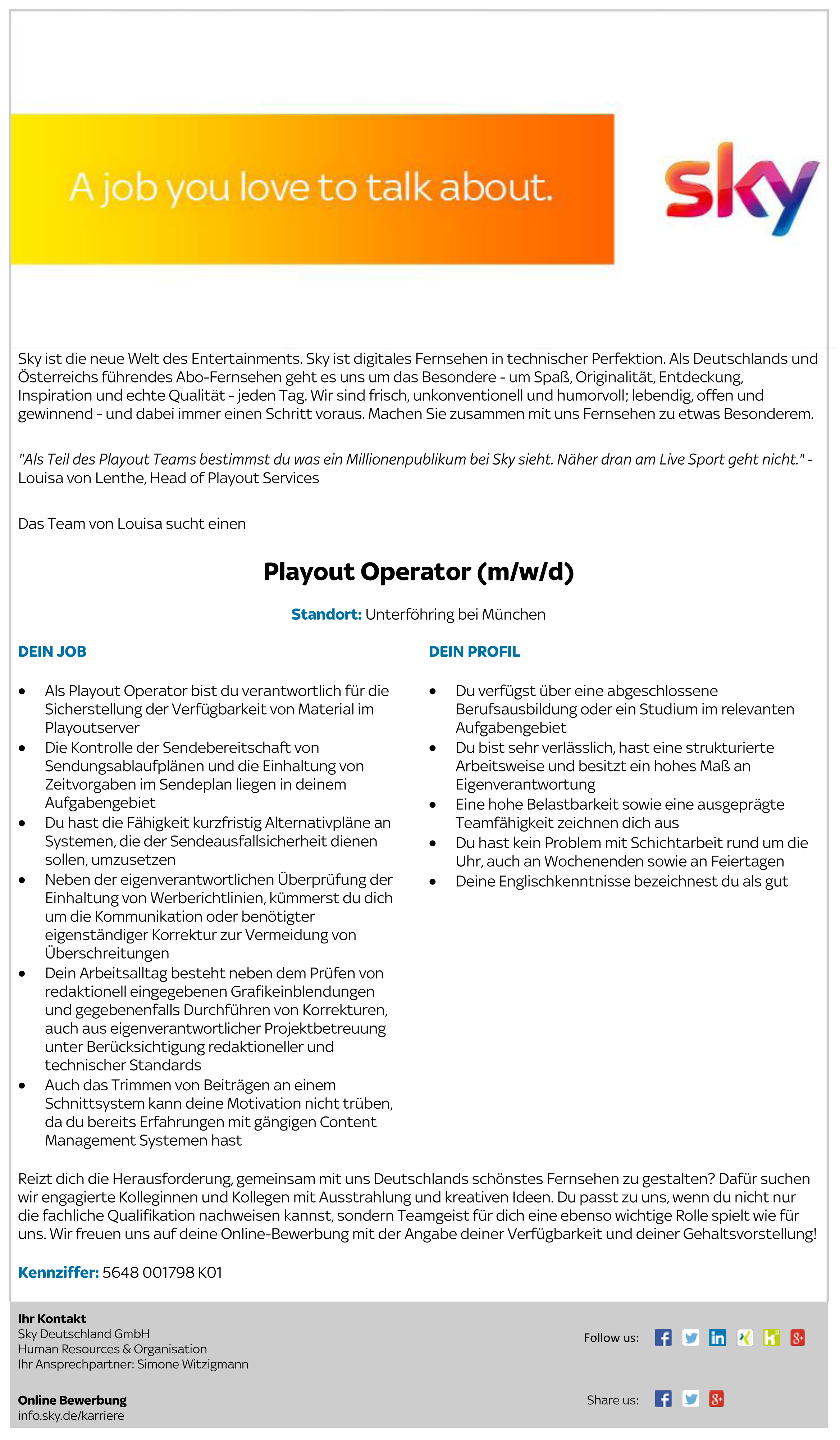 Playout Operator (m/w/d)