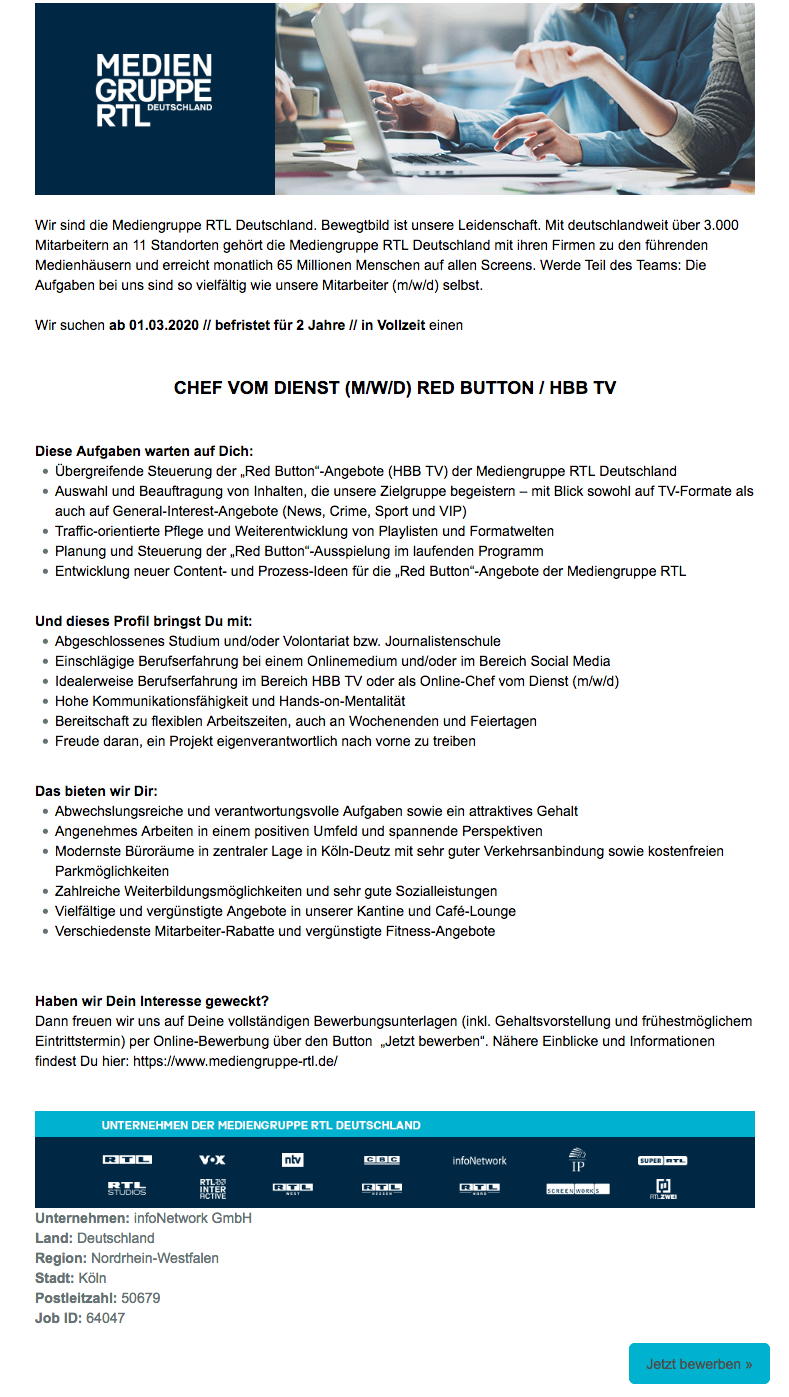 Chef vom Dienst (m/w/d) Red Button / HBB TV (infoNetwork)