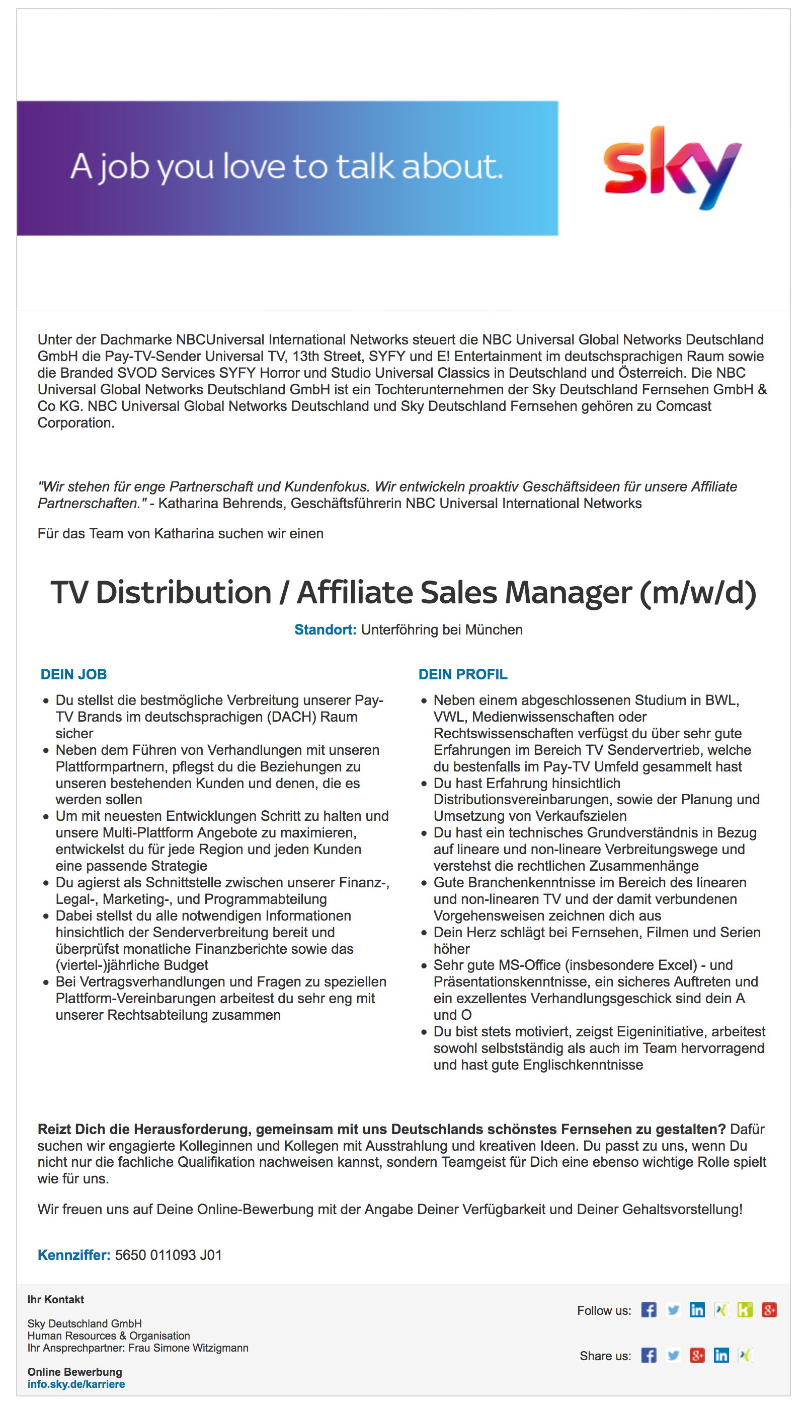 TV Distribution / Affiliate Sales Manager (m/w/d)