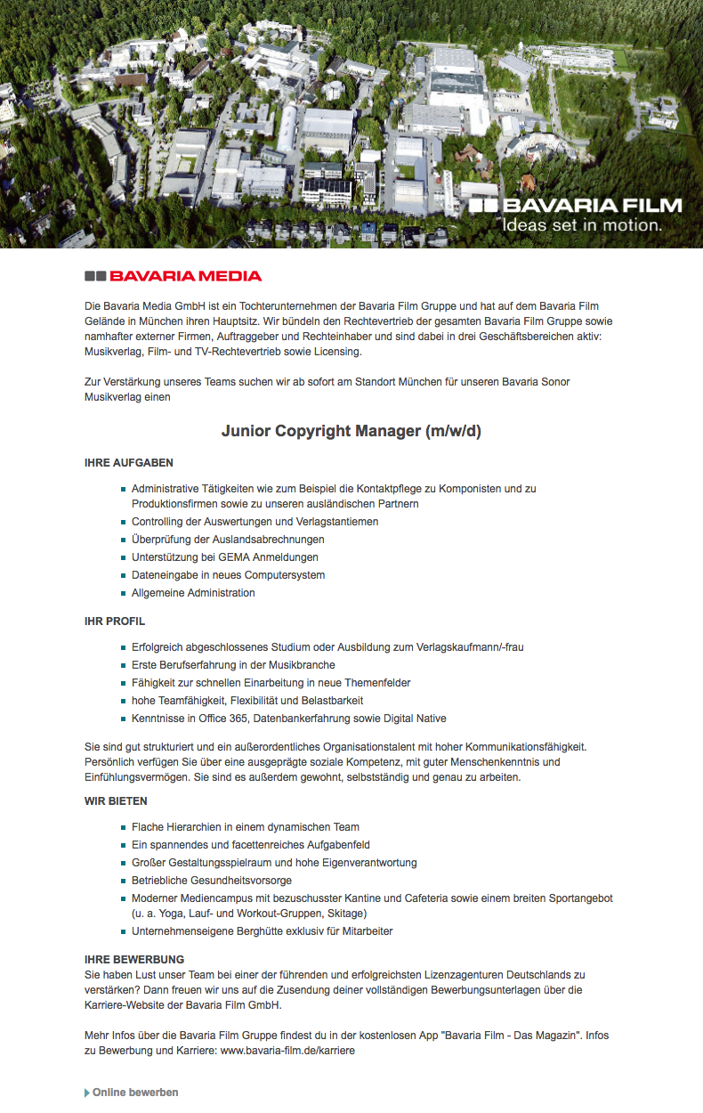 Junior Copyright Manager (m/w/d)