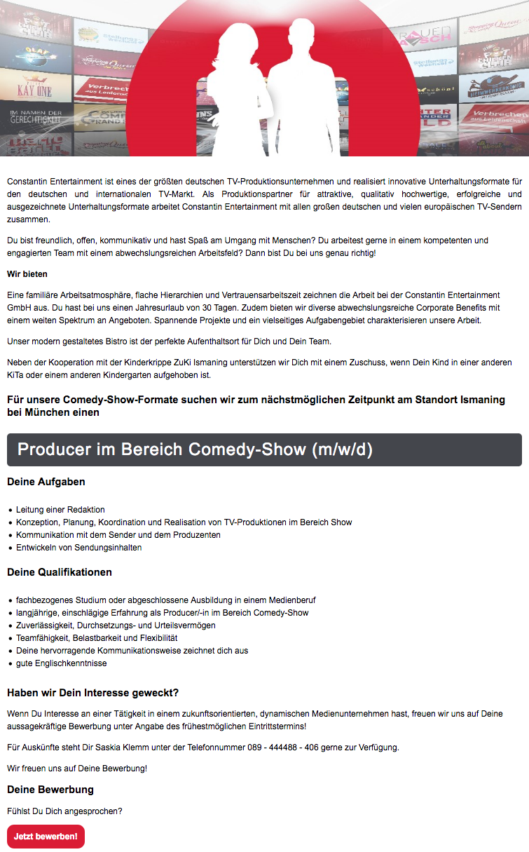 Producer im Bereich Comedy-Show (m/w/d)
