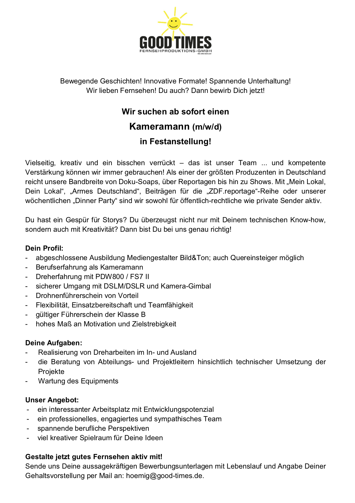 Kameramann (m/w/d) in Festanstellung