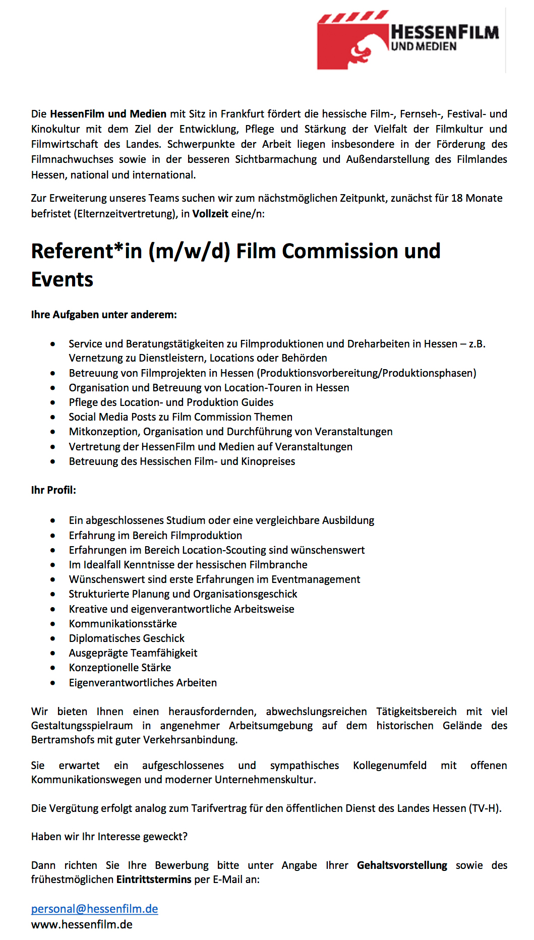 Referent*in (m/w/d) Film Commission und Events