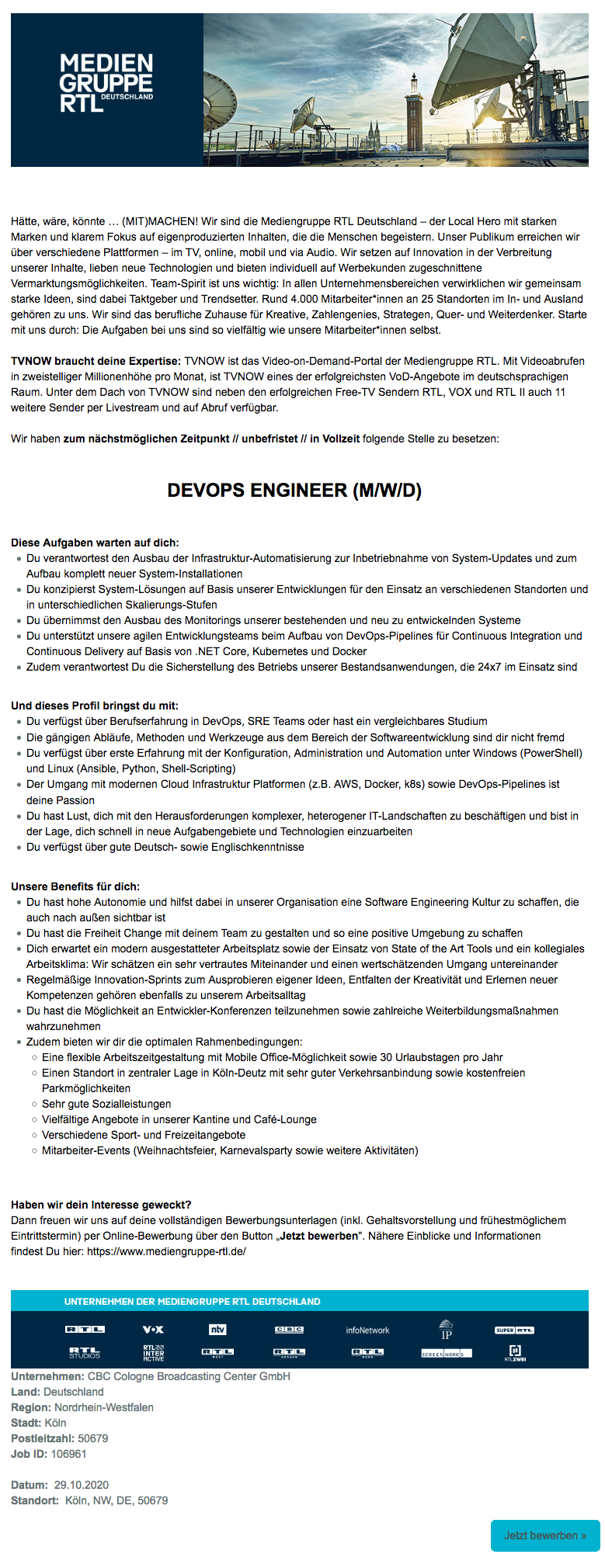 DevOps Engineer (m/w/d) (CBC)