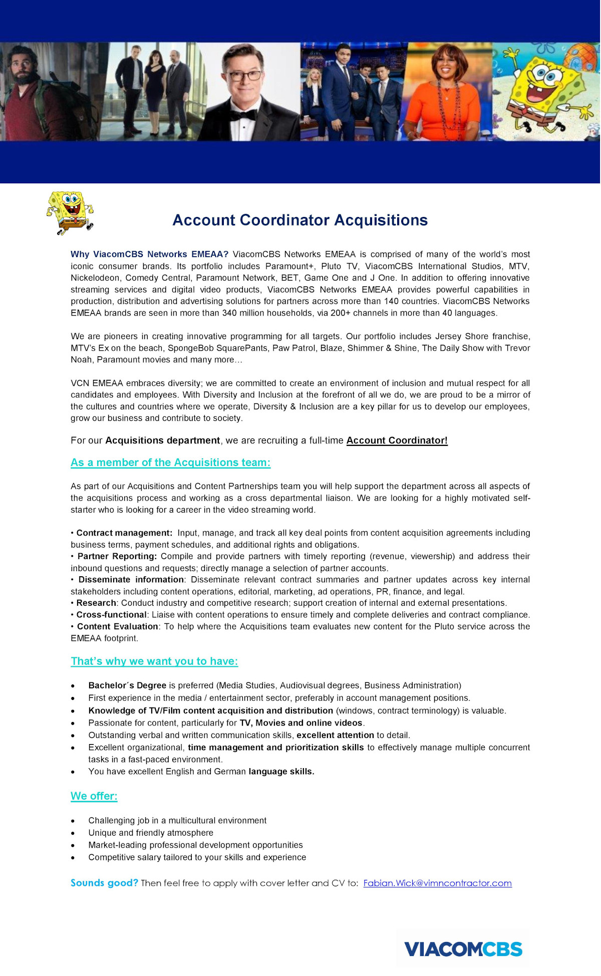 Account Coordinator Acquisitions (m/w/d)