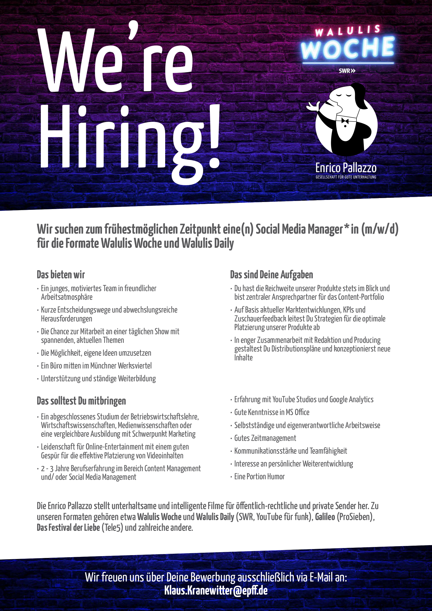 Social Media Manager*in (m/w/d) für Walulis Woche und Walulis Daily