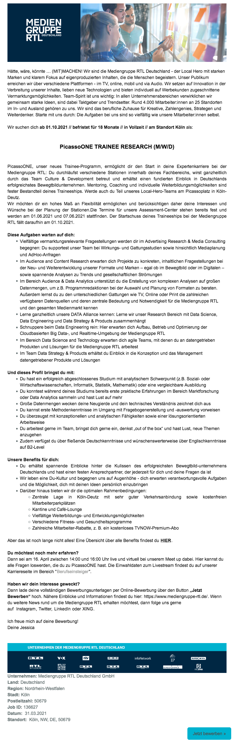 PicassoONE Trainee Research (m/w/d)