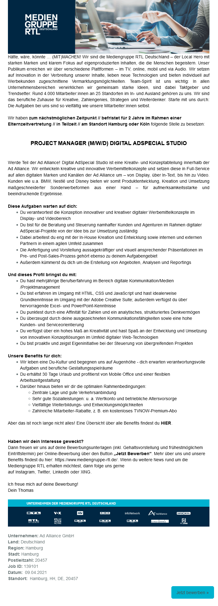 Project Manager (m/w/d) Digital AdSpecial Studio befristet in Teilzeit (Ad Alliance)