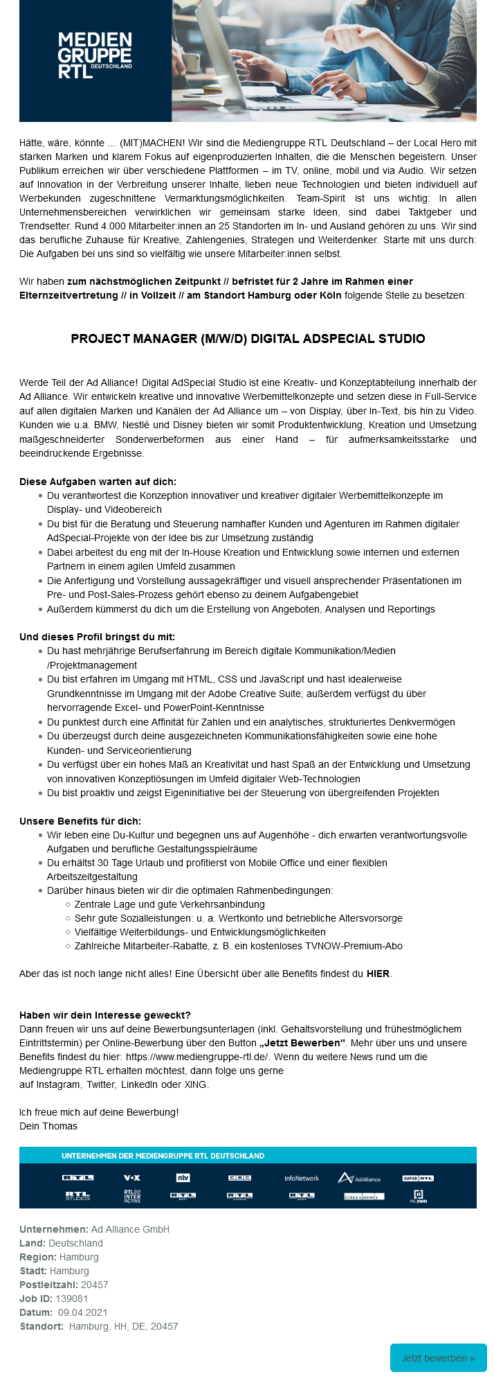 Project Manager (m/w/d) Digital AdSpecial Studio (Ad Alliance), befristet