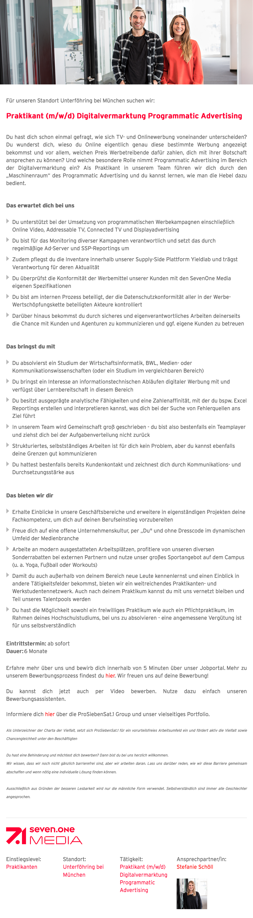 Praktikant (m/w/d) Digitalvermarktung Programmatic Advertising
